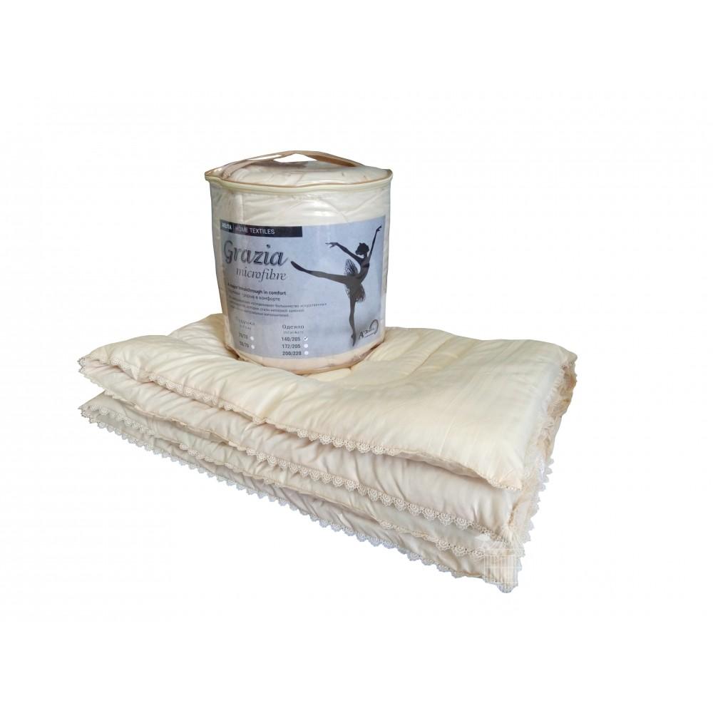 Одеяло пуховое Грация 200x220, 172x205, 140x205 (высокосиликонизированное волокно)
