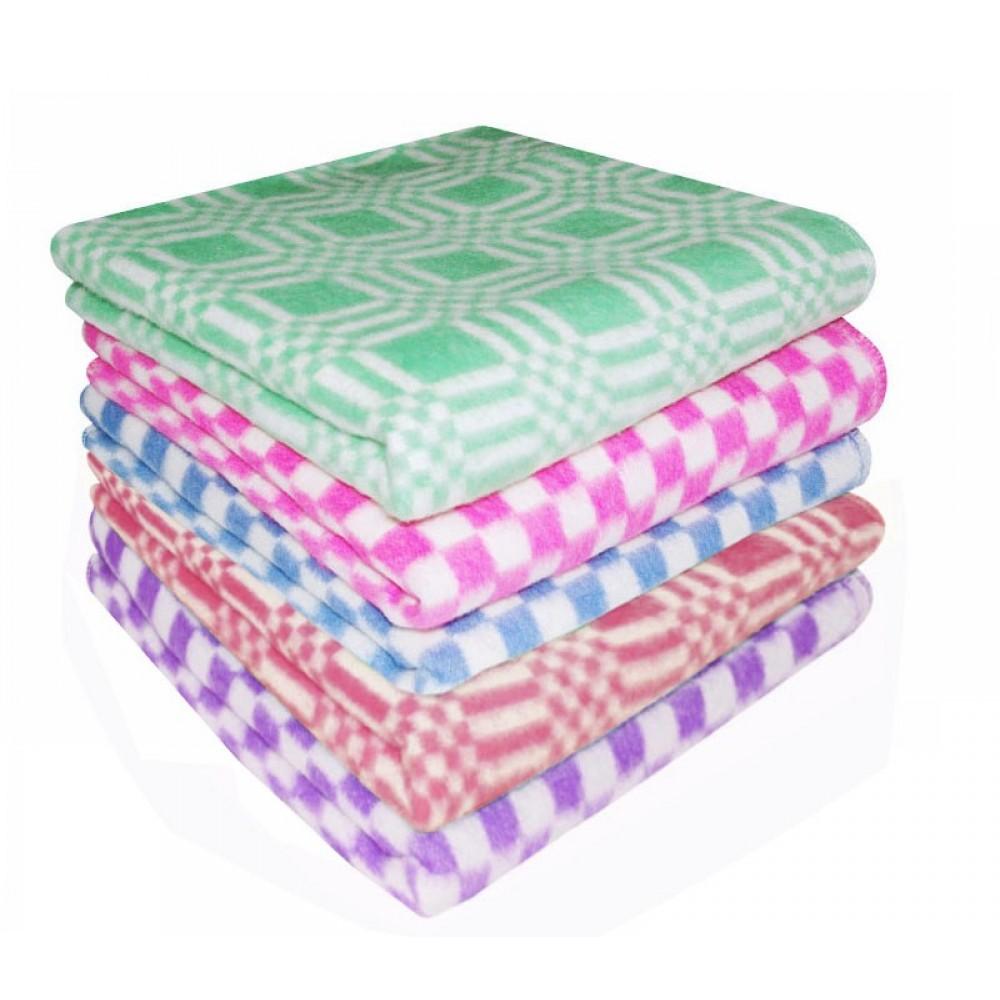 Одеяло байковое цветное в клетку Ермолино 140x205, 100x140