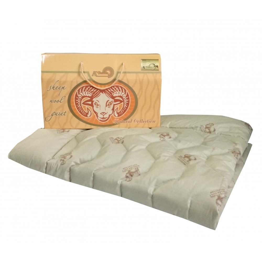 Одеяло из овечьей шерсти Козерог 200x220, 172x205, 140x205, 110x140 (силиконизированное волокно)