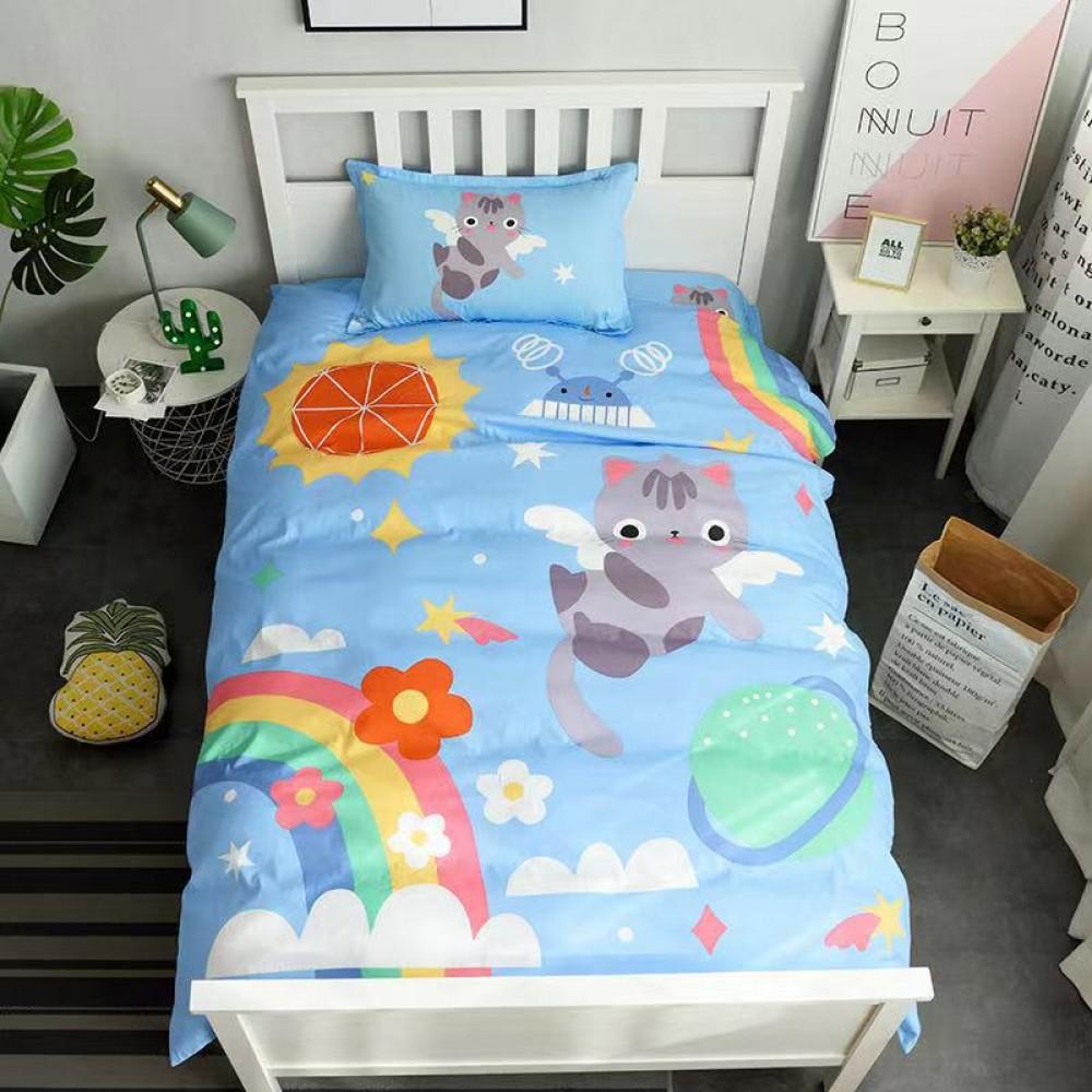 Постельное белье Детский Сатин 100% хлопок 1,5 сп Радужный кот