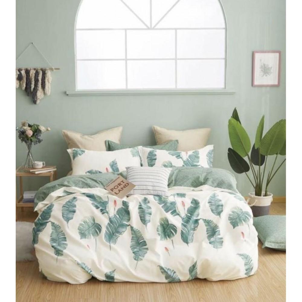 Комплект постельного белья Сатин 100% хлопок Листья