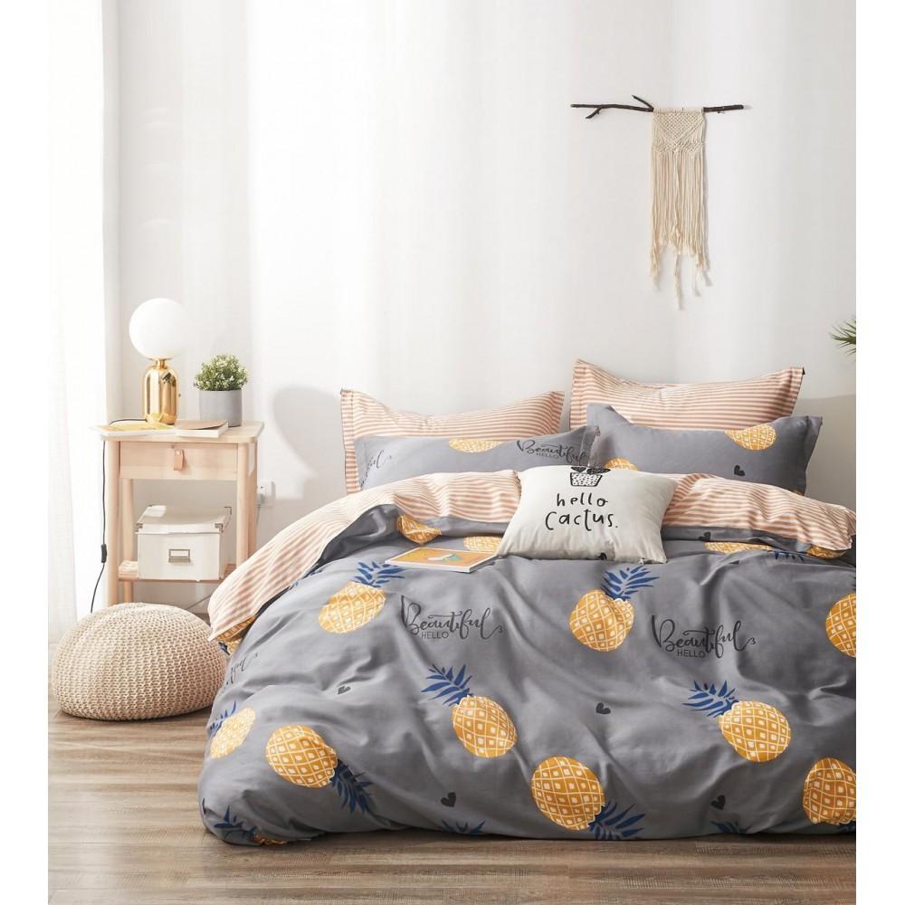 Комплект постельного белья Сатин 100% хлопок Ананасы