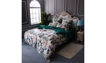 Двустороннее постельное белье Шелк-сатин (евро) Королевский сад
