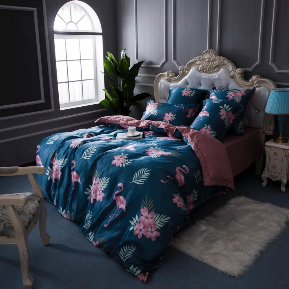 Двустороннее постельное белье Шелк-сатин (евро) Фламинго