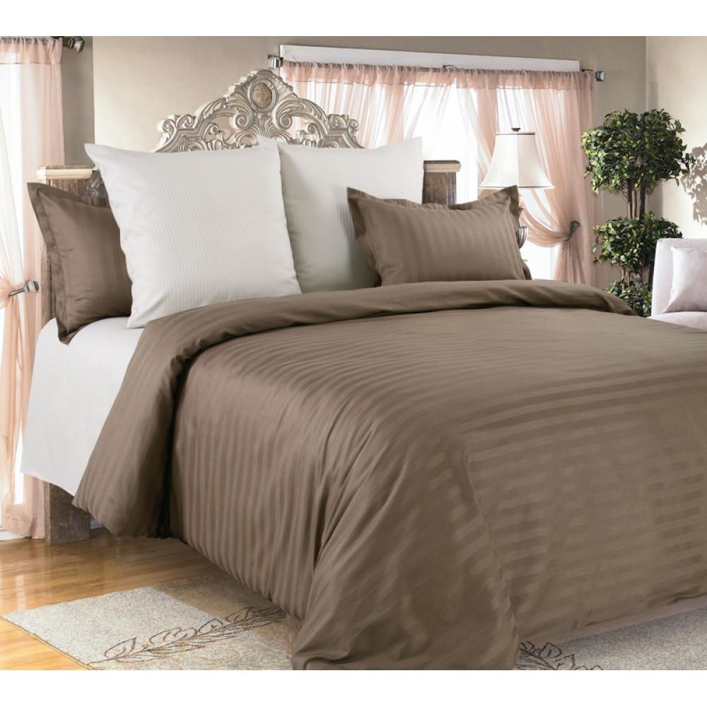 Комплект постельного белья Страйп-Сатин 100% хлопок Капучино