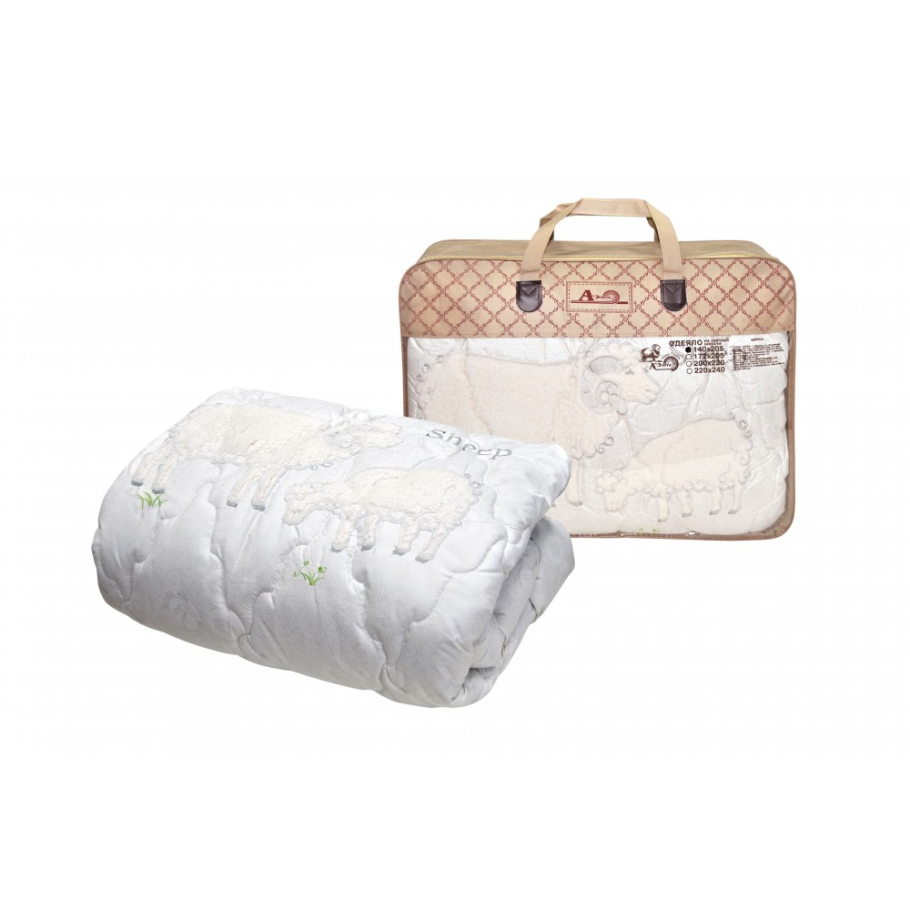 Одеяло из овечьей шерсти Sheep Grass утолщенное 200x220, 172x205, 140x205 (силиконизированное волокно)